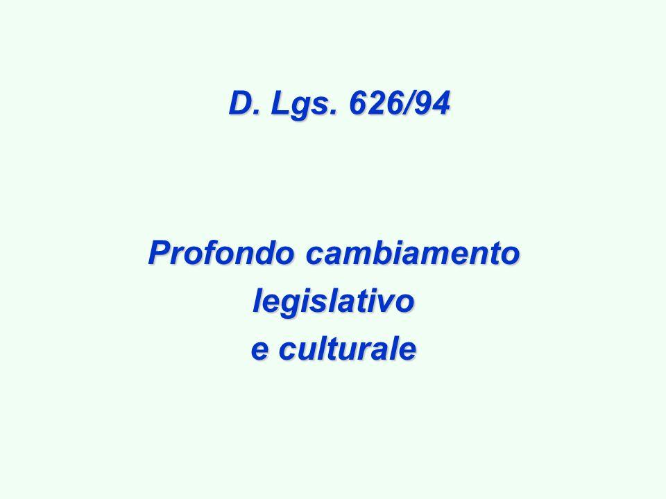 D. Lgs. 626/94 Profondo cambiamento legislativo e culturale