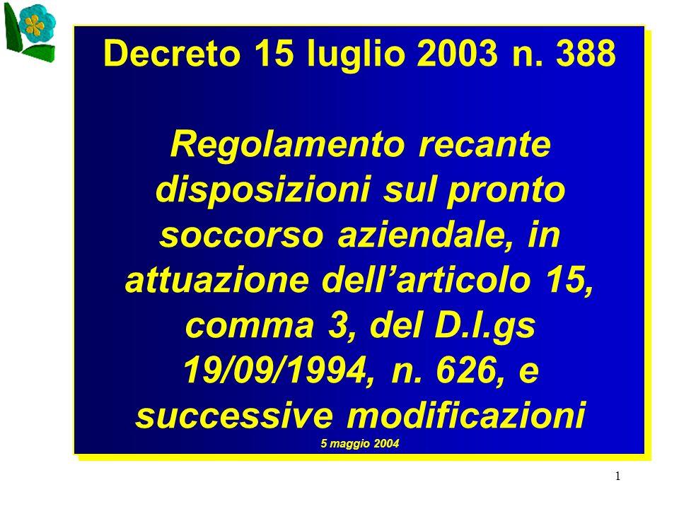 1 Decreto 15 luglio 2003 n. 388 Regolamento recante disposizioni sul pronto soccorso aziendale, in attuazione dellarticolo 15, comma 3, del D.l.gs 19/