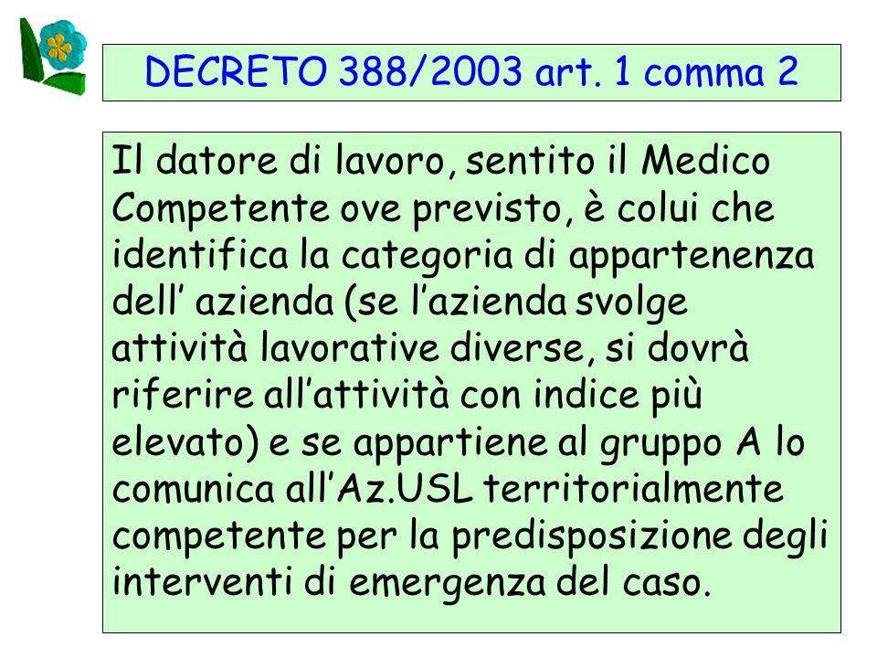 13 DECRETO 388/2003 art. 1 comma 2 Il datore di lavoro, sentito il Medico Competente ove previsto, è colui che identifica la categoria di appartenenza