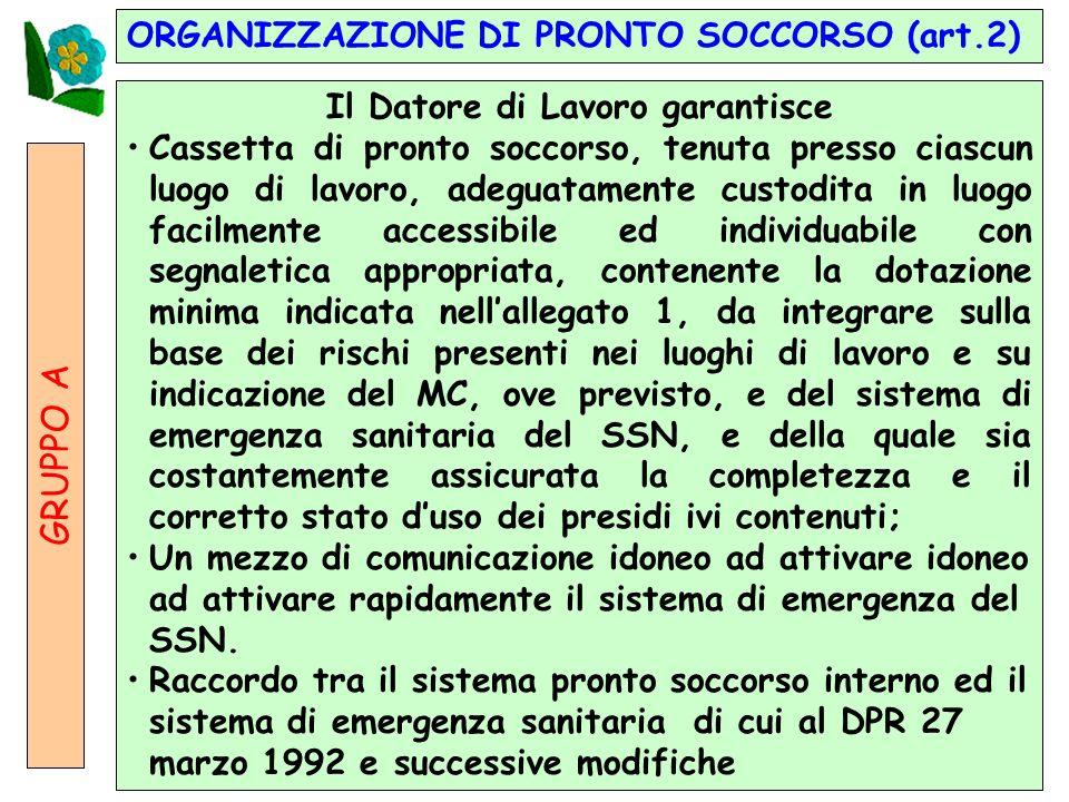 14 ORGANIZZAZIONE DI PRONTO SOCCORSO (art.2) GRUPPO A Il Datore di Lavoro garantisce Cassetta di pronto soccorso, tenuta presso ciascun luogo di lavor