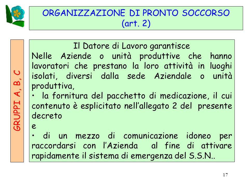 17 GRUPPI A, B, C ORGANIZZAZIONE DI PRONTO SOCCORSO (art.