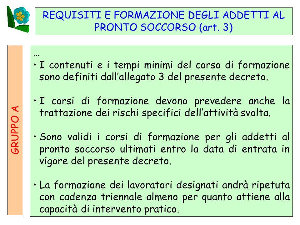 19 REQUISITI E FORMAZIONE DEGLI ADDETTI AL PRONTO SOCCORSO (art.
