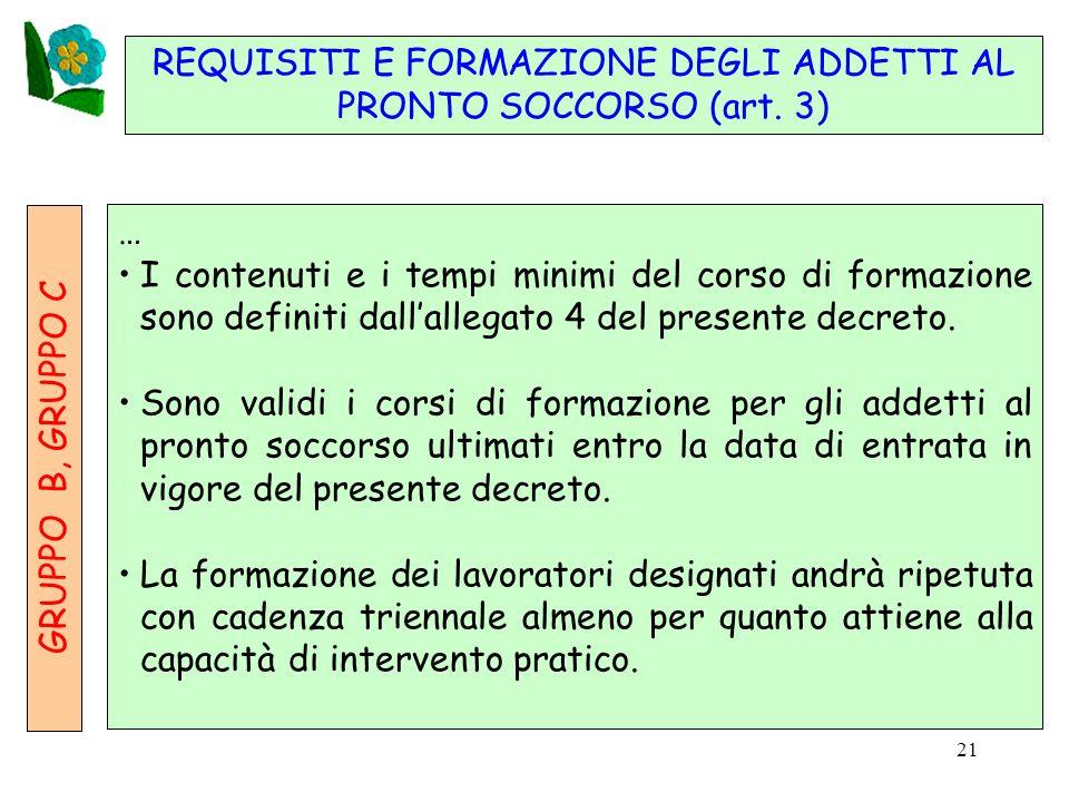 21 REQUISITI E FORMAZIONE DEGLI ADDETTI AL PRONTO SOCCORSO (art.
