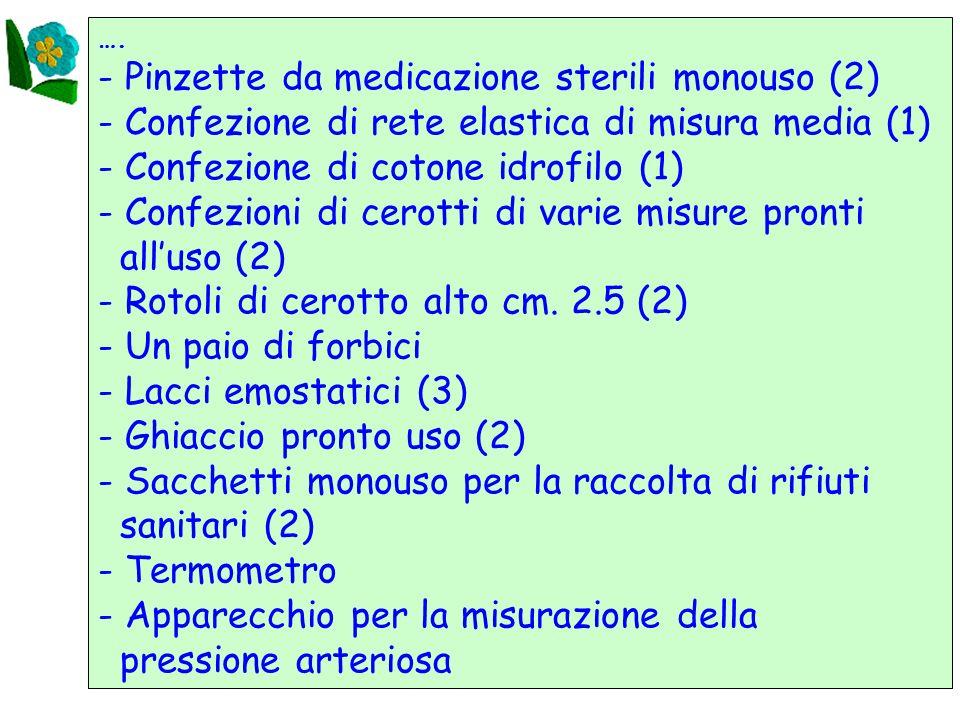 24 …. - Pinzette da medicazione sterili monouso (2) - Confezione di rete elastica di misura media (1) - Confezione di cotone idrofilo (1) - Confezioni