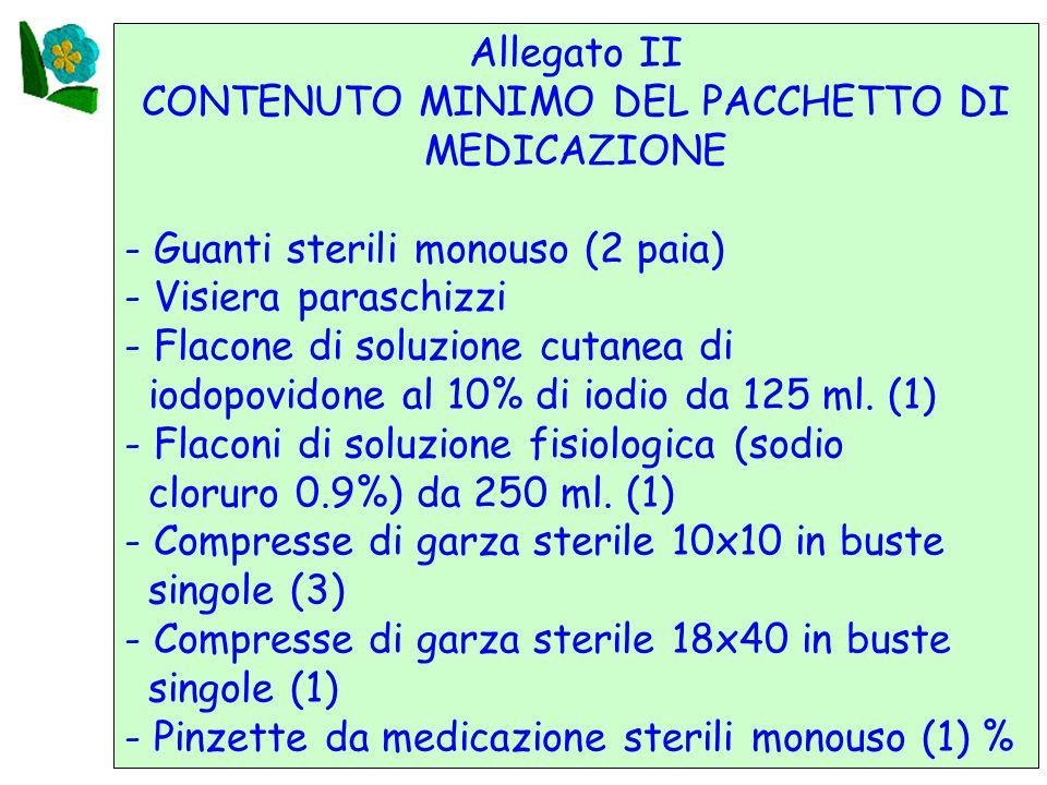 25 Allegato II CONTENUTO MINIMO DEL PACCHETTO DI MEDICAZIONE - Guanti sterili monouso (2 paia) - Visiera paraschizzi - Flacone di soluzione cutanea di iodopovidone al 10% di iodio da 125 ml.