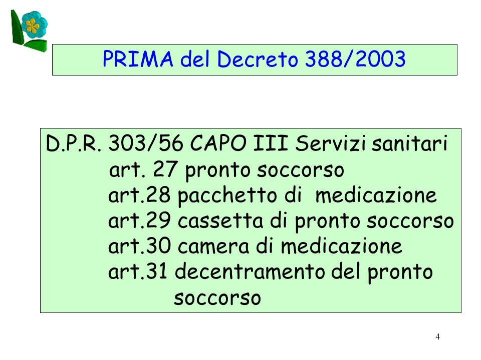 4 PRIMA del Decreto 388/2003 D.P.R. 303/56 CAPO III Servizi sanitari art. 27 pronto soccorso art.28 pacchetto di medicazione art.29 cassetta di pronto