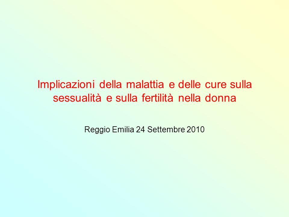 Implicazioni della malattia e delle cure sulla sessualità e sulla fertilità nella donna Reggio Emilia 24 Settembre 2010