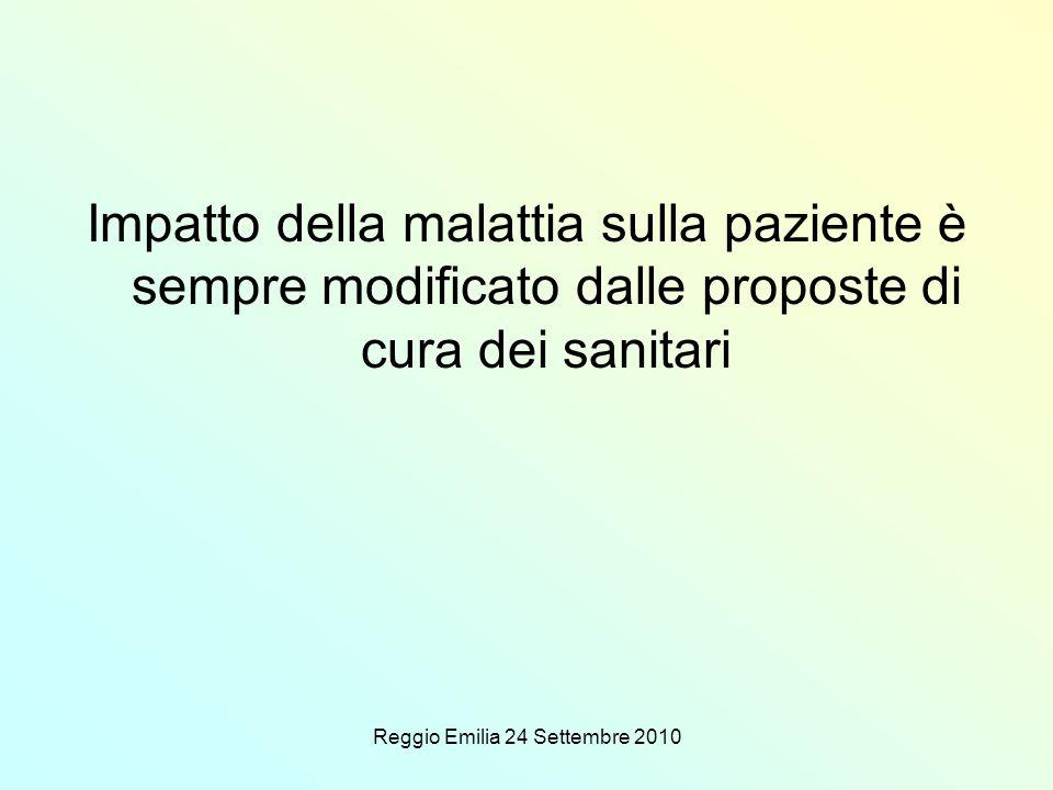 Reggio Emilia 24 Settembre 2010 Impatto della malattia sulla paziente è sempre modificato dalle proposte di cura dei sanitari