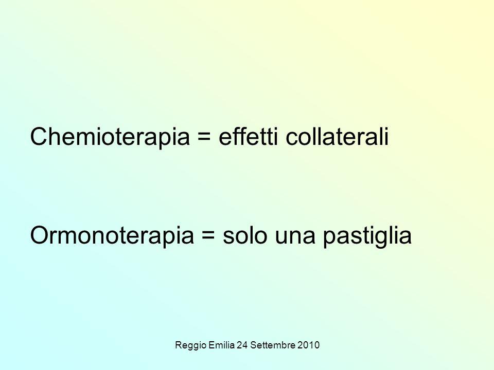 Reggio Emilia 24 Settembre 2010 Chemioterapia = effetti collaterali Ormonoterapia = solo una pastiglia