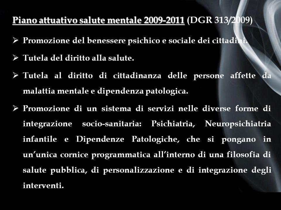 Page 3 First Page Piano attuativo salute mentale 2009-2011 Piano attuativo salute mentale 2009-2011 (DGR 313/2009) Promozione del benessere psichico e sociale dei cittadini.