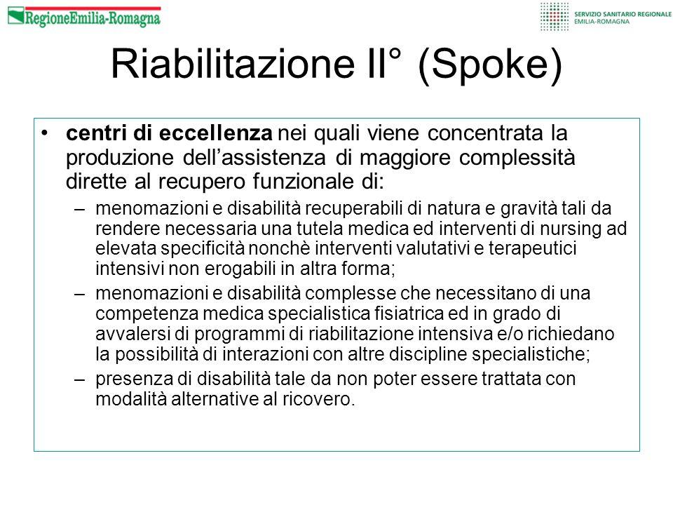 Riabilitazione II° (Spoke) centri di eccellenza nei quali viene concentrata la produzione dellassistenza di maggiore complessità dirette al recupero f