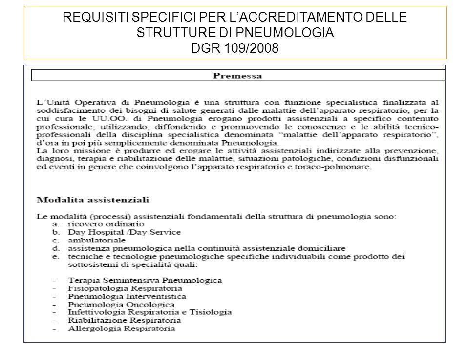 REQUISITI SPECIFICI PER LACCREDITAMENTO DELLE STRUTTURE DI PNEUMOLOGIA DGR 109/2008