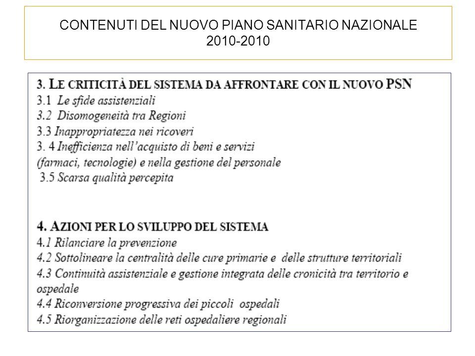 CONTENUTI DEL NUOVO PIANO SANITARIO NAZIONALE 2010-2010