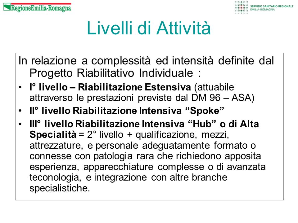 Livelli di Attività In relazione a complessità ed intensità definite dal Progetto Riabilitativo Individuale : I° livello – Riabilitazione Estensiva (a