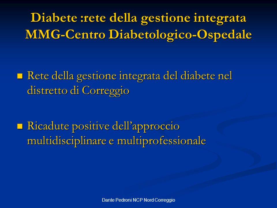 Dante Pedroni NCP Nord Correggio Diabete :rete della gestione integrata MMG-Centro Diabetologico-Ospedale Rete della gestione integrata del diabete ne