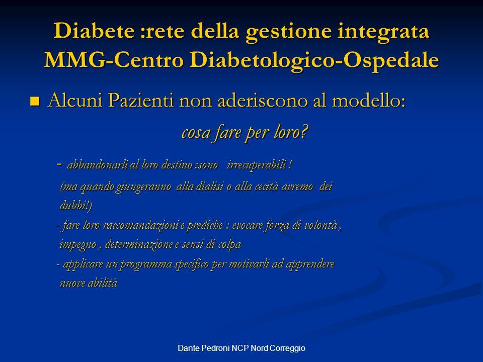 Dante Pedroni NCP Nord Correggio Diabete :rete della gestione integrata MMG-Centro Diabetologico-Ospedale Alcuni Pazienti non aderiscono al modello: A