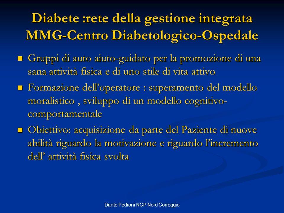 Dante Pedroni NCP Nord Correggio Diabete :rete della gestione integrata MMG-Centro Diabetologico-Ospedale Gruppi di auto aiuto-guidato per la promozio
