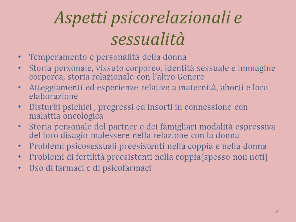 Aspetti psicorelazionali e sessualità Temperamento e personalità della donna Storia personale, vissuto corporeo, identità sessuale e immagine corporea