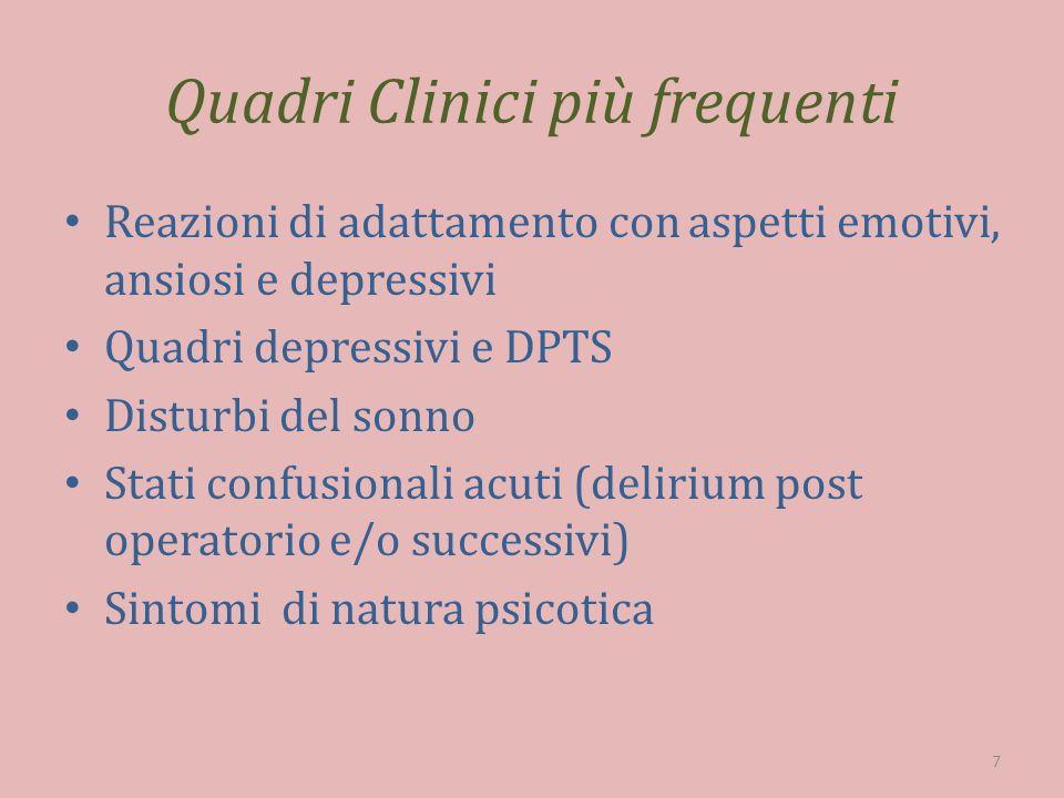 Quadri Clinici più frequenti Reazioni di adattamento con aspetti emotivi, ansiosi e depressivi Quadri depressivi e DPTS Disturbi del sonno Stati confu