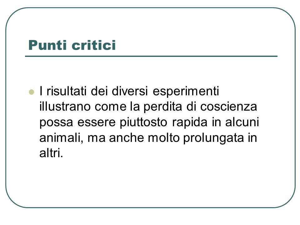 Punti critici I risultati dei diversi esperimenti illustrano come la perdita di coscienza possa essere piuttosto rapida in alcuni animali, ma anche molto prolungata in altri.