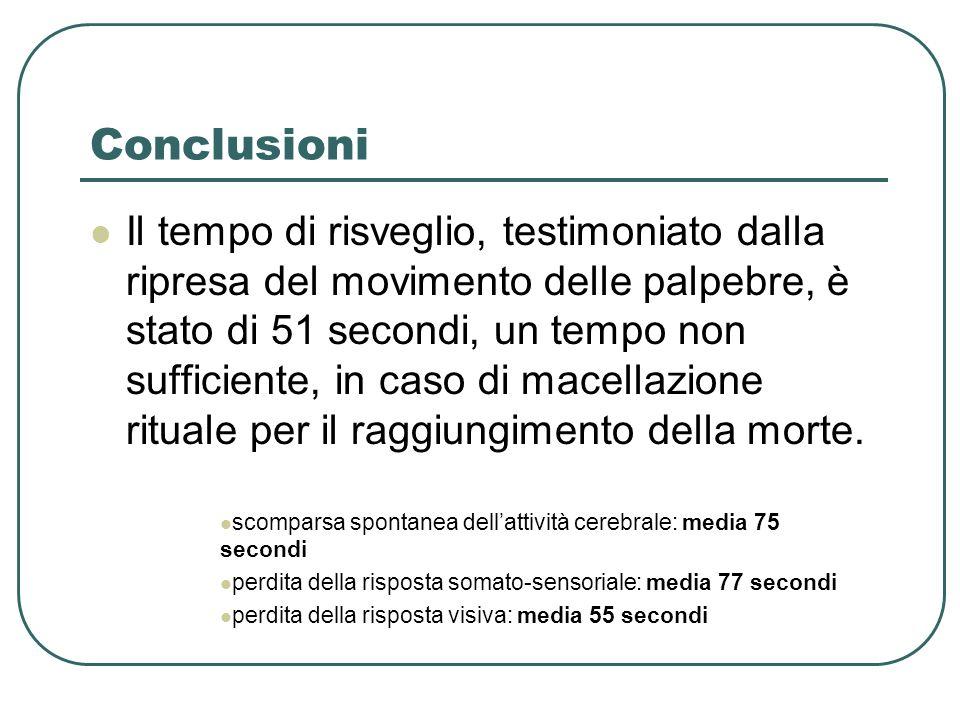 Conclusioni Il tempo di risveglio, testimoniato dalla ripresa del movimento delle palpebre, è stato di 51 secondi, un tempo non sufficiente, in caso di macellazione rituale per il raggiungimento della morte.