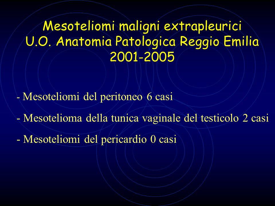 Mesoteliomi maligni extrapleurici U.O. Anatomia Patologica Reggio Emilia 2001-2005 - Mesoteliomi del peritoneo 6 casi - Mesotelioma della tunica vagin