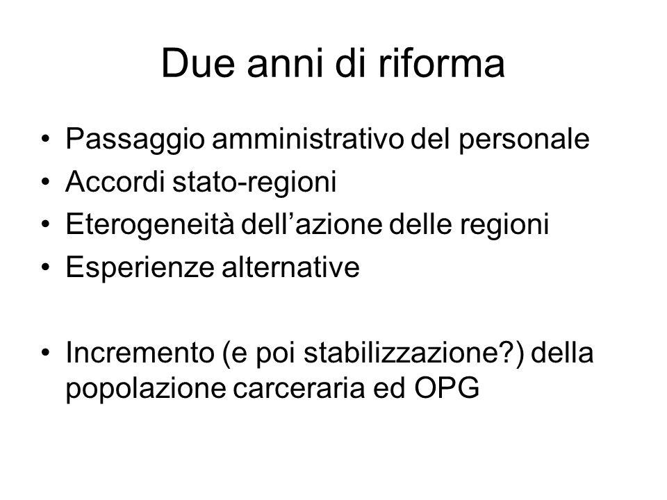 Due anni di riforma Passaggio amministrativo del personale Accordi stato-regioni Eterogeneità dellazione delle regioni Esperienze alternative Incremen
