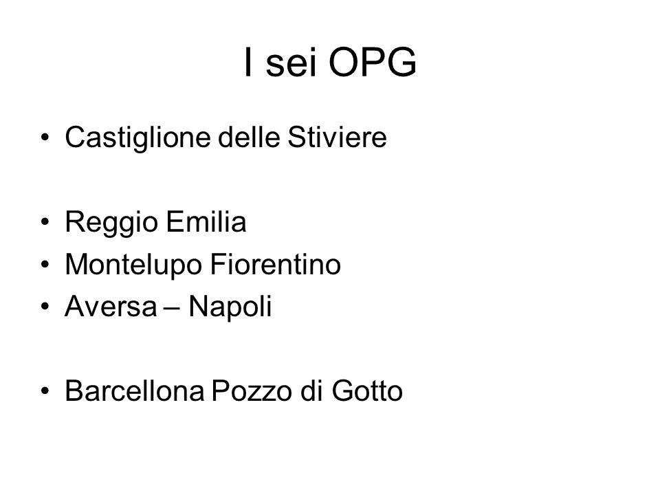 I sei OPG Castiglione delle Stiviere Reggio Emilia Montelupo Fiorentino Aversa – Napoli Barcellona Pozzo di Gotto