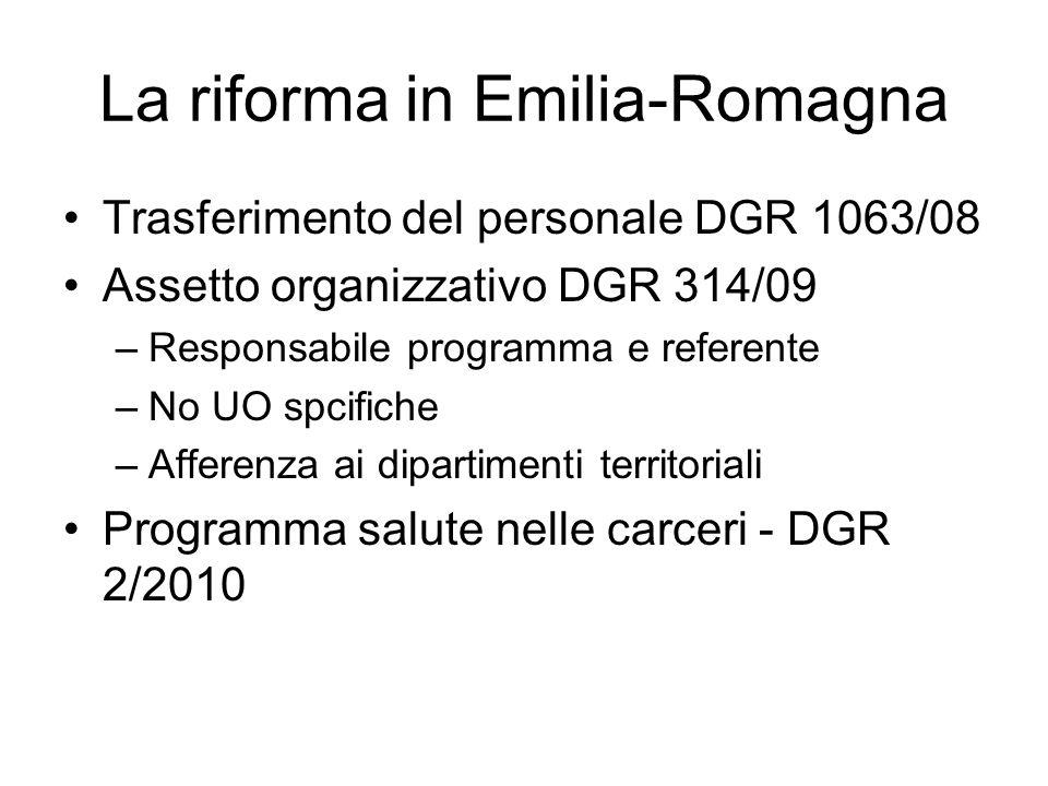 La riforma in Emilia-Romagna Trasferimento del personale DGR 1063/08 Assetto organizzativo DGR 314/09 –Responsabile programma e referente –No UO spcif