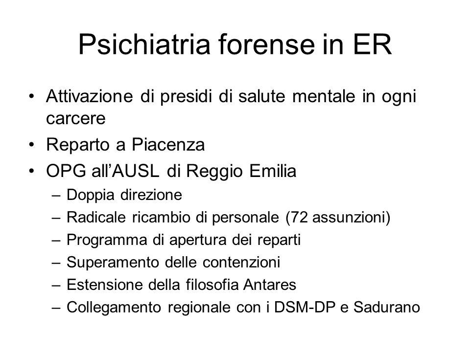 Psichiatria forense in ER Attivazione di presidi di salute mentale in ogni carcere Reparto a Piacenza OPG allAUSL di Reggio Emilia –Doppia direzione –