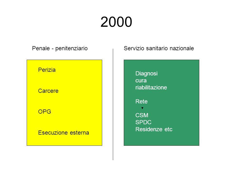 2000 Penale - penitenziarioServizio sanitario nazionale Perizia Carcere OPG Esecuzione esterna Diagnosi cura riabilitazione Rete CSM SPDC Residenze et