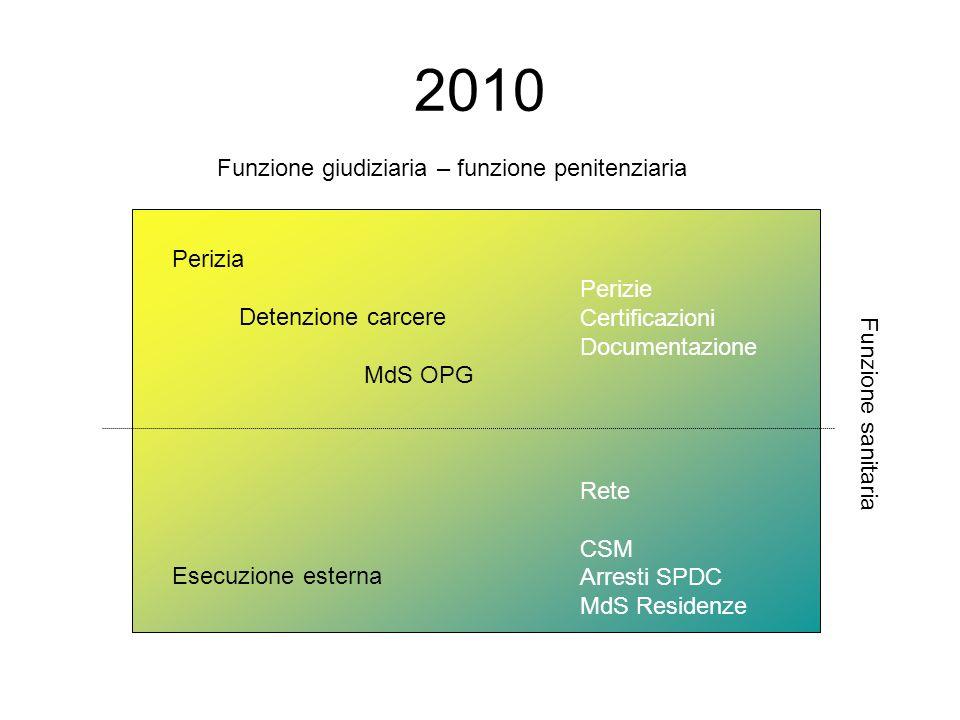2010 Funzione giudiziaria – funzione penitenziaria Funzione sanitaria Perizia Detenzione carcere MdS OPG Esecuzione esterna Perizie Certificazioni Doc