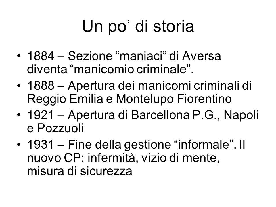 Un po di storia 1884 – Sezione maniaci di Aversa diventa manicomio criminale. 1888 – Apertura dei manicomi criminali di Reggio Emilia e Montelupo Fior