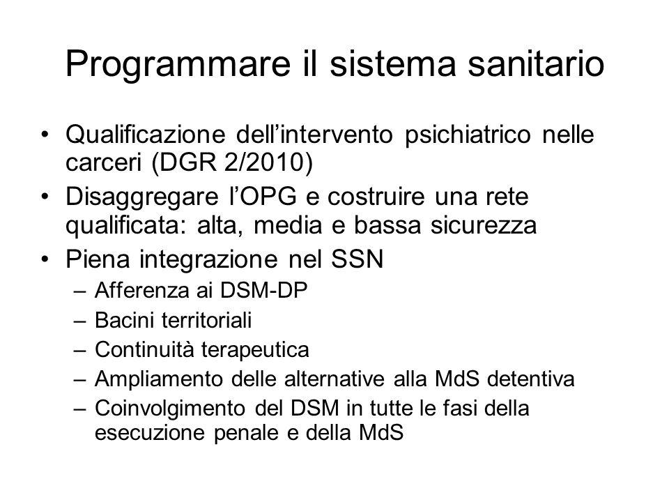 Programmare il sistema sanitario Qualificazione dellintervento psichiatrico nelle carceri (DGR 2/2010) Disaggregare lOPG e costruire una rete qualific
