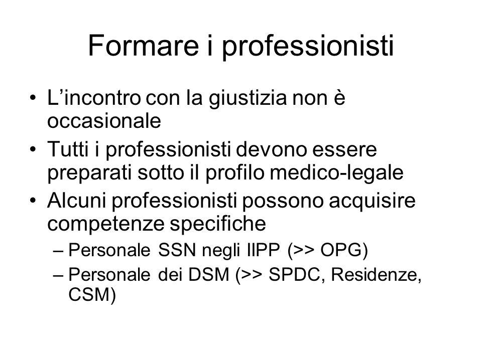 Formare i professionisti Lincontro con la giustizia non è occasionale Tutti i professionisti devono essere preparati sotto il profilo medico-legale Al