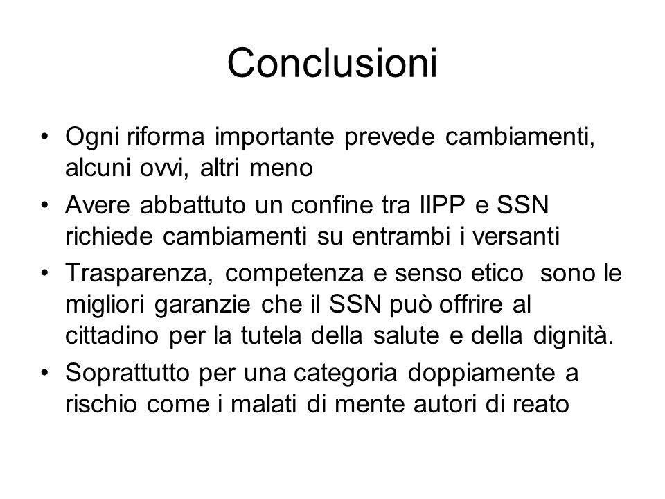Conclusioni Ogni riforma importante prevede cambiamenti, alcuni ovvi, altri meno Avere abbattuto un confine tra IIPP e SSN richiede cambiamenti su ent
