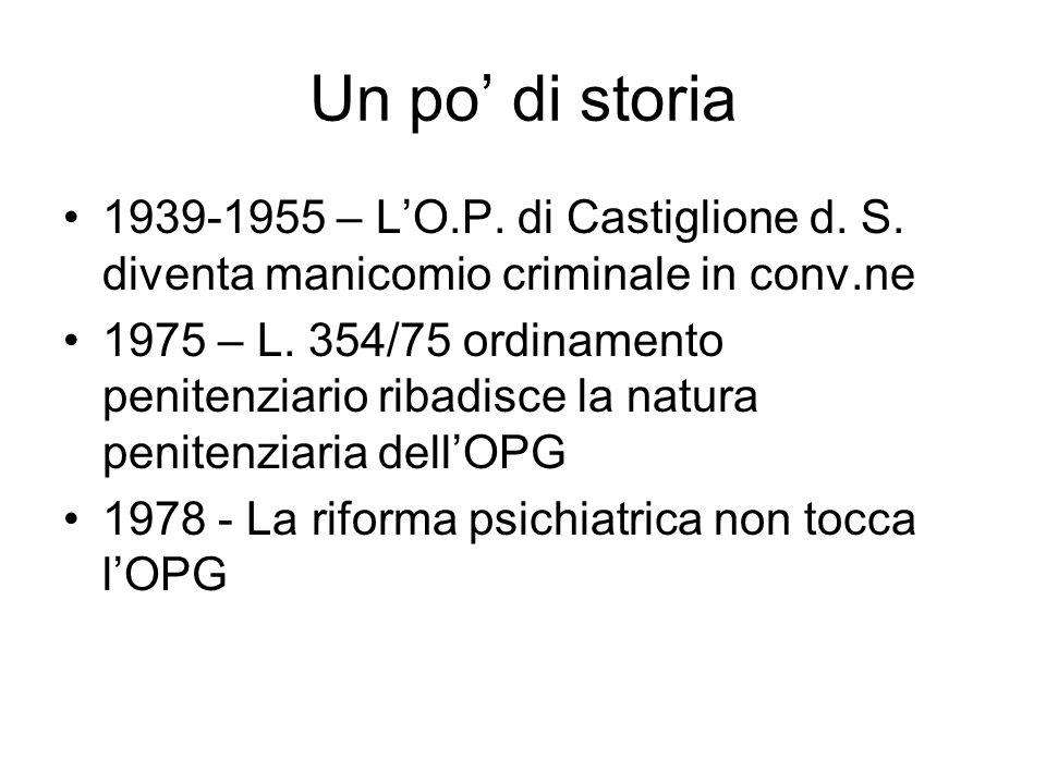 Un po di storia 1939-1955 – LO.P. di Castiglione d. S. diventa manicomio criminale in conv.ne 1975 – L. 354/75 ordinamento penitenziario ribadisce la