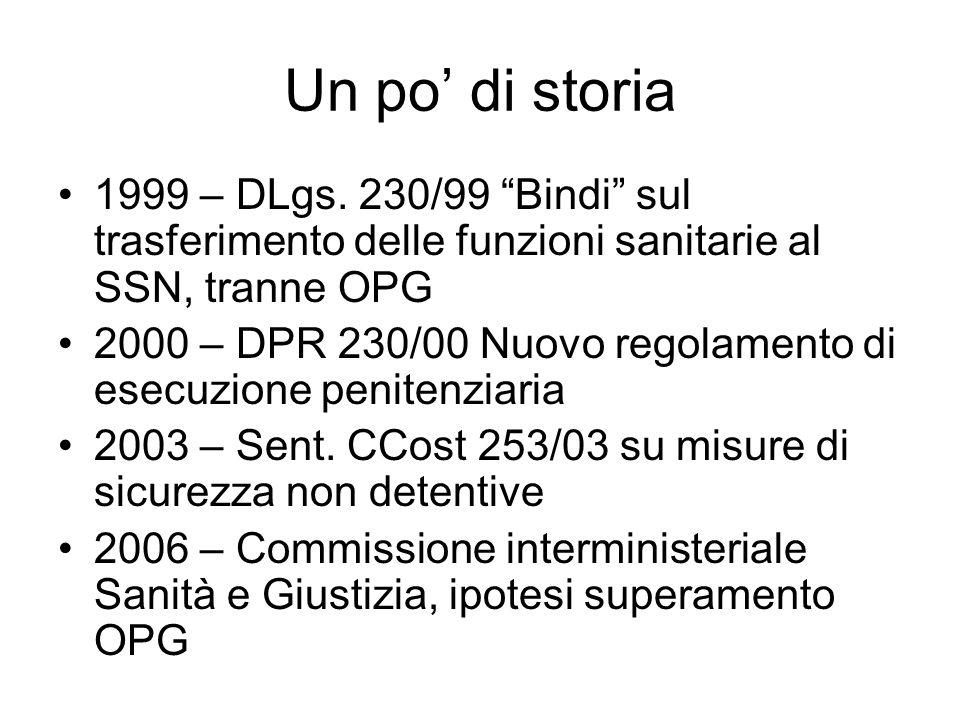Un po di storia 1999 – DLgs. 230/99 Bindi sul trasferimento delle funzioni sanitarie al SSN, tranne OPG 2000 – DPR 230/00 Nuovo regolamento di esecuzi