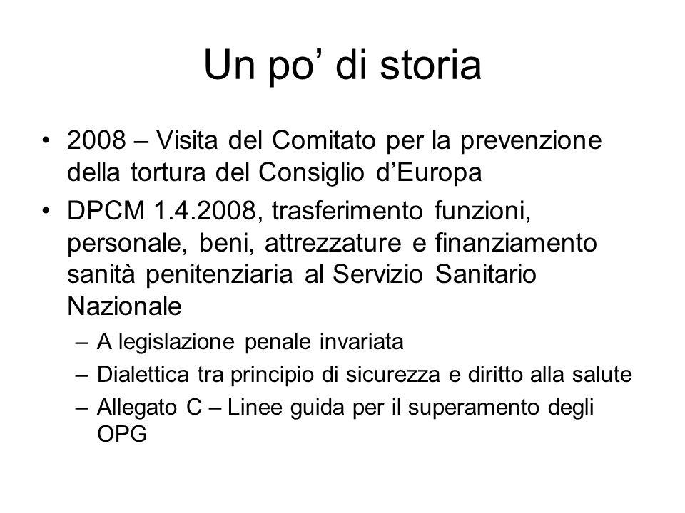 Un po di storia 2008 – Visita del Comitato per la prevenzione della tortura del Consiglio dEuropa DPCM 1.4.2008, trasferimento funzioni, personale, be