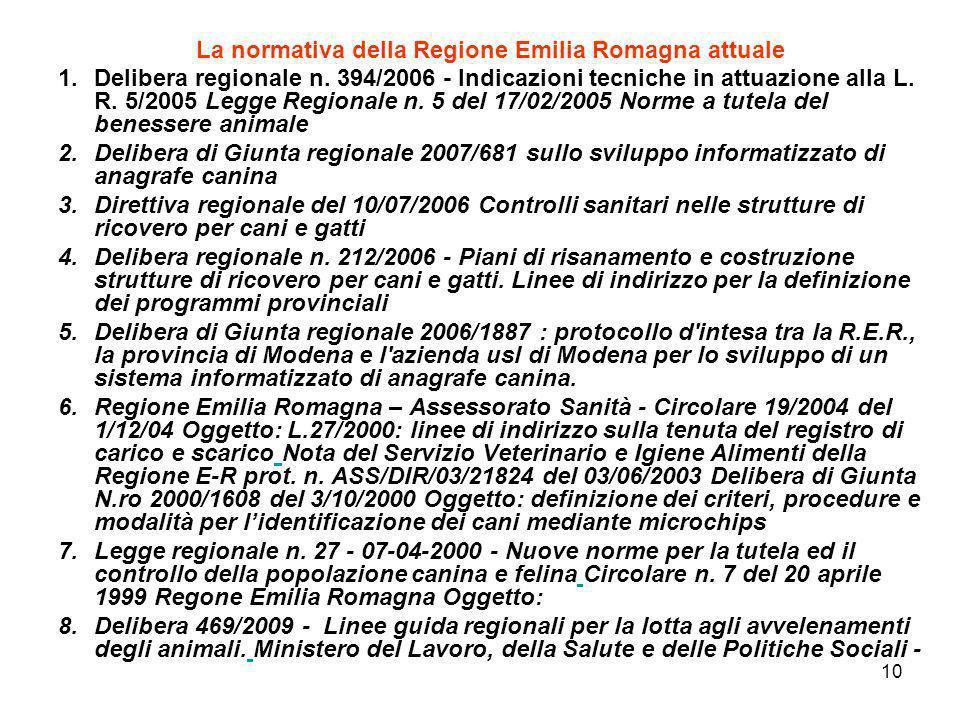 10 La normativa della Regione Emilia Romagna attuale 1.Delibera regionale n. 394/2006 - Indicazioni tecniche in attuazione alla L. R. 5/2005 Legge Reg