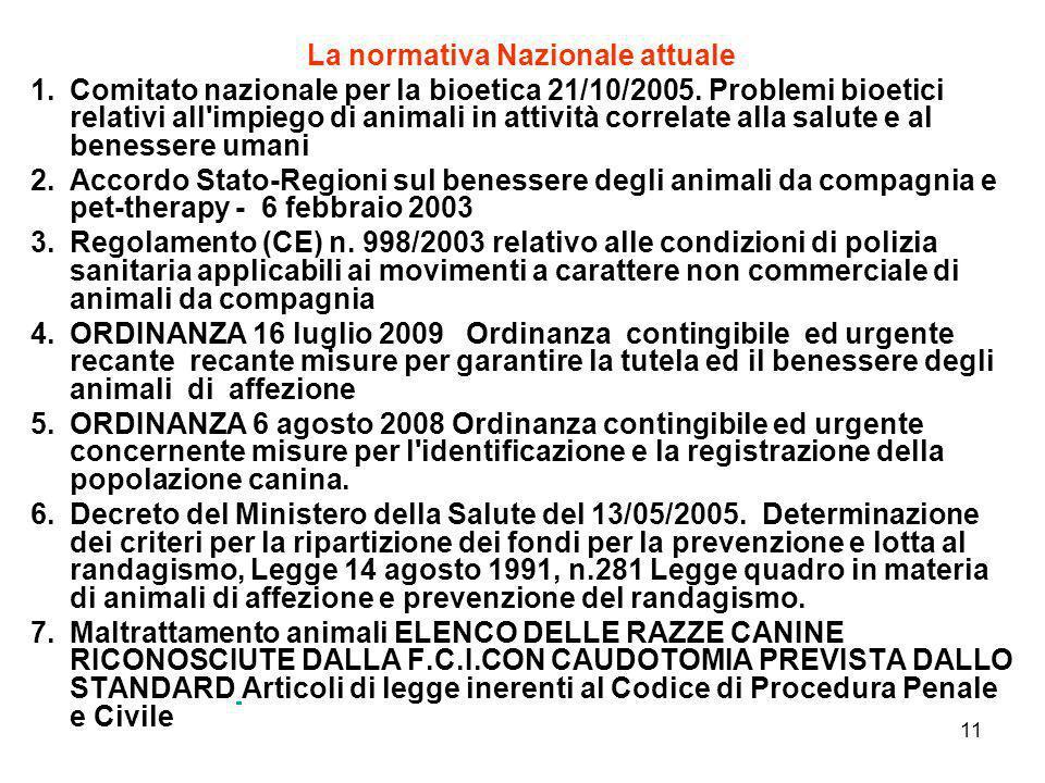 11 La normativa Nazionale attuale 1.Comitato nazionale per la bioetica 21/10/2005. Problemi bioetici relativi all'impiego di animali in attività corre