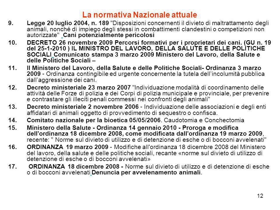 12 La normativa Nazionale attuale 9.Legge 20 luglio 2004, n. 189