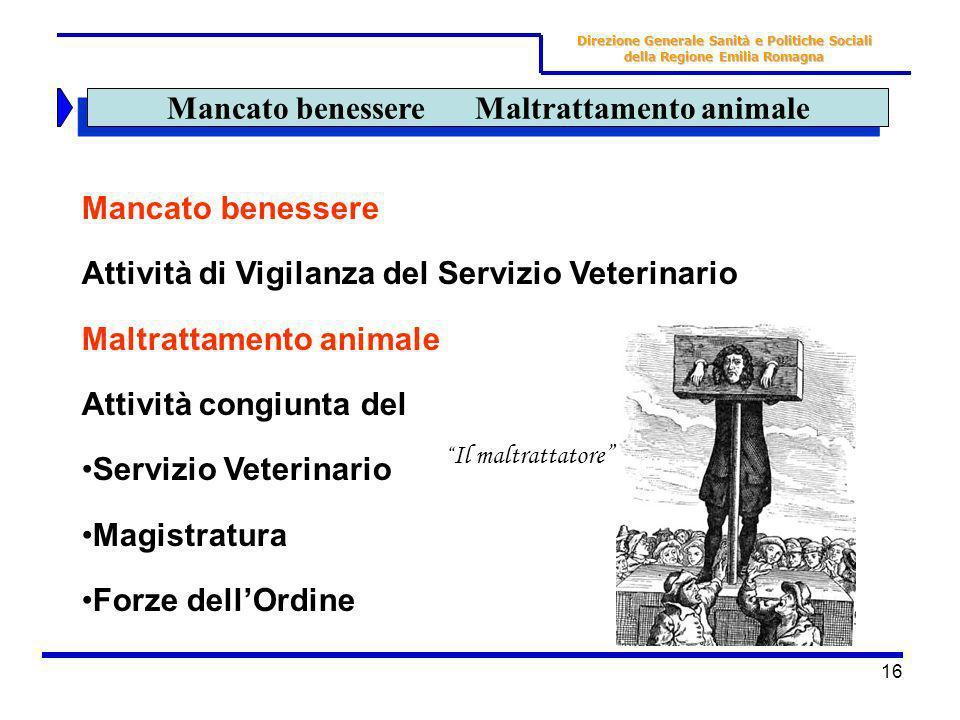 16 Mancato benessere Maltrattamento animale Mancato benessere Attività di Vigilanza del Servizio Veterinario Maltrattamento animale Attività congiunta