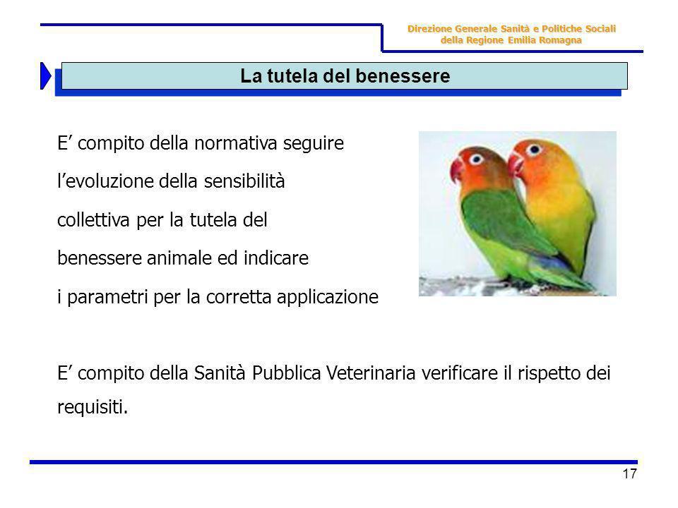 17 La tutela del benessere E compito della normativa seguire levoluzione della sensibilità collettiva per la tutela del benessere animale ed indicare