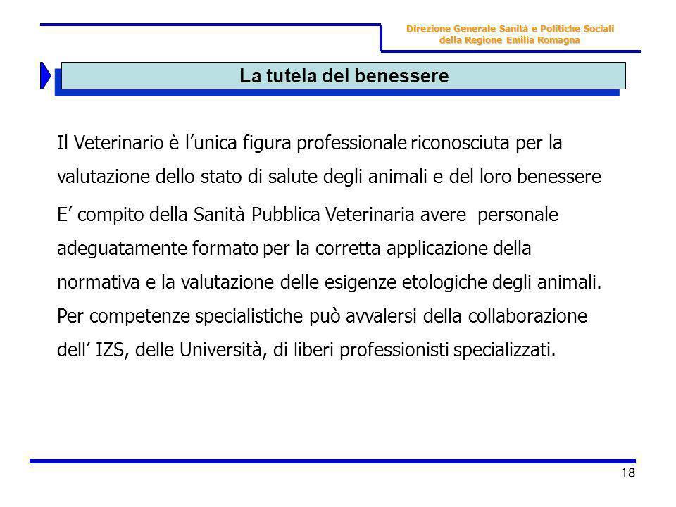 18 La tutela del benessere Il Veterinario è lunica figura professionale riconosciuta per la valutazione dello stato di salute degli animali e del loro
