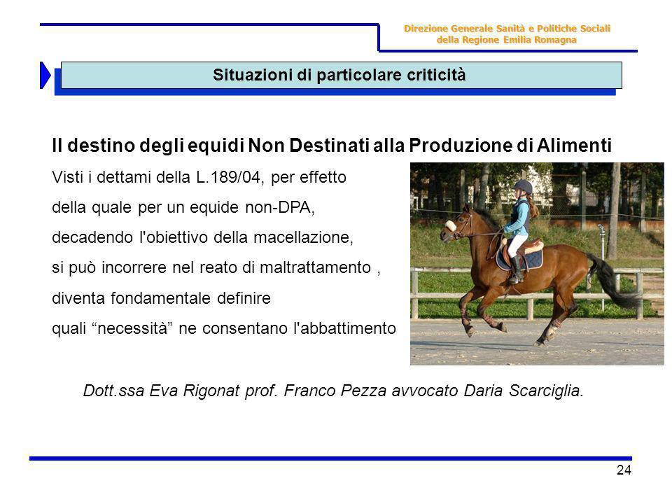24 Situazioni di particolare criticità Direzione Generale Sanità e Politiche Sociali della Regione Emilia Romagna Il destino degli equidi Non Destinat