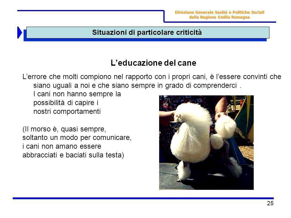 25 Situazioni di particolare criticità Direzione Generale Sanità e Politiche Sociali della Regione Emilia Romagna Leducazione del cane Lerrore che mol