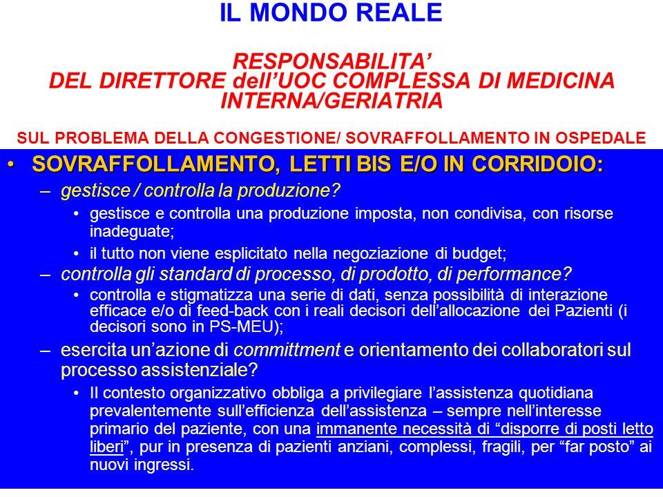 IL MONDO REALE RESPONSABILITA DEL DIRETTORE dellUOC COMPLESSA DI MEDICINA INTERNA/GERIATRIA SUL PROBLEMA DELLA CONGESTIONE/ SOVRAFFOLLAMENTO IN OSPEDA