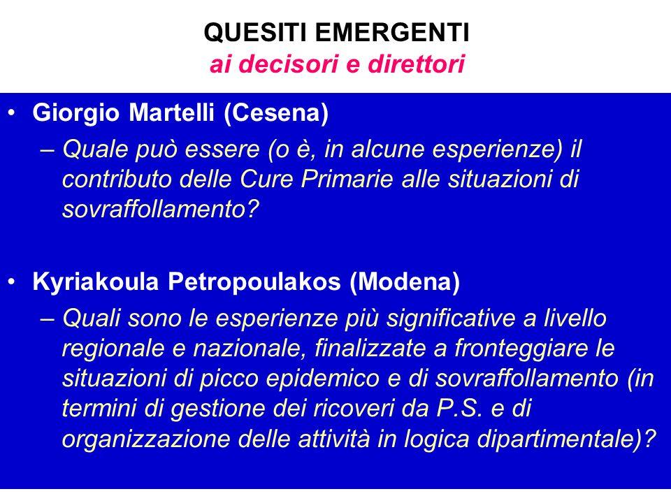 QUESITI EMERGENTI ai decisori e direttori Giorgio Martelli (Cesena) –Quale può essere (o è, in alcune esperienze) il contributo delle Cure Primarie al