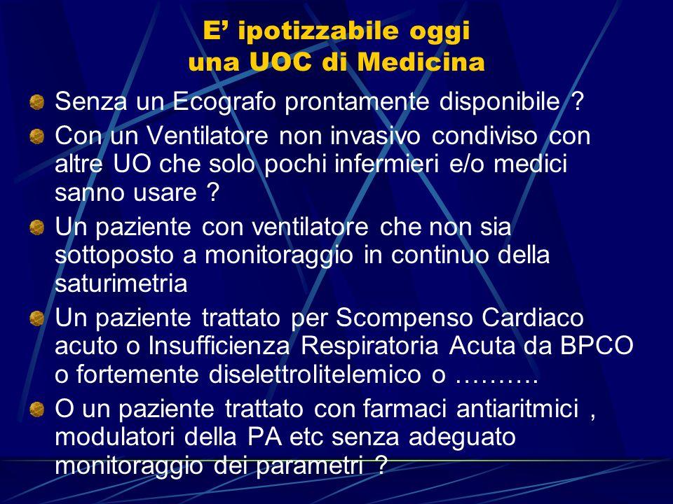 Ecografo internistico 1. Lottimale utilizzo deve condurre alla condivisione di ecografi di varie U.O., internistiche o specialistiche, se funzionanti